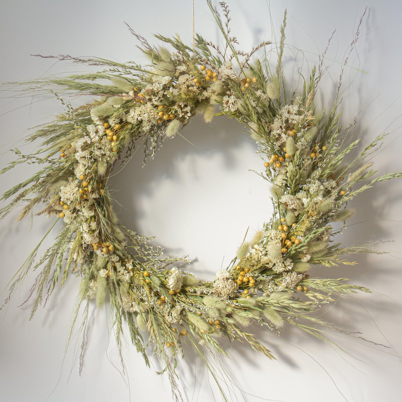 Wieniec Z Suszonych Kwiatów Jesienny Wieniec Naturalny Etsy Natural Wreath Wreaths Flower Wreath