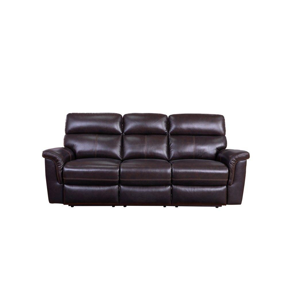 2pc Maxwell Top Grain Leather Reclining Sofa Armchair Set Brown