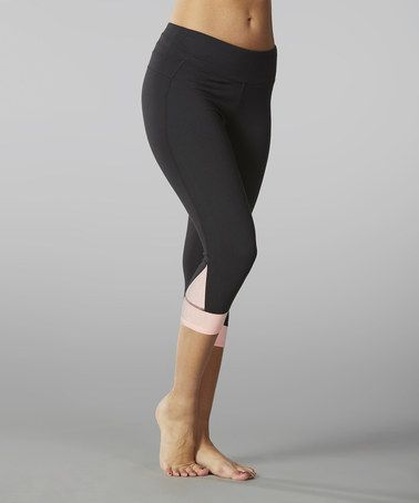 2dc6bda269249 Another great find on #zulily! Bright Peach Contrast Sanded Dry-Wik Crop  Leggings - Women #zulilyfinds