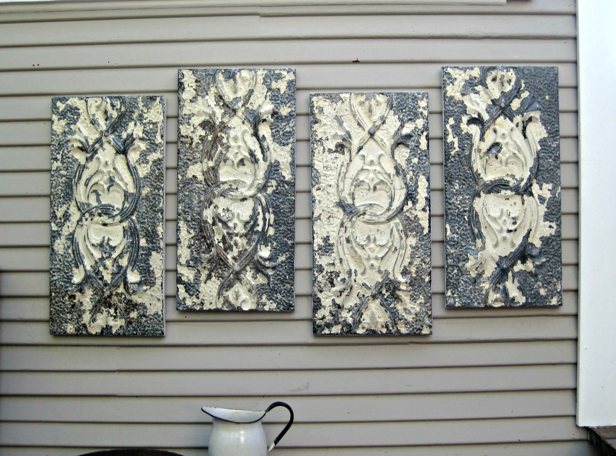 Large wall art, Antique Ceiling Tin Tiles, Distressed ...