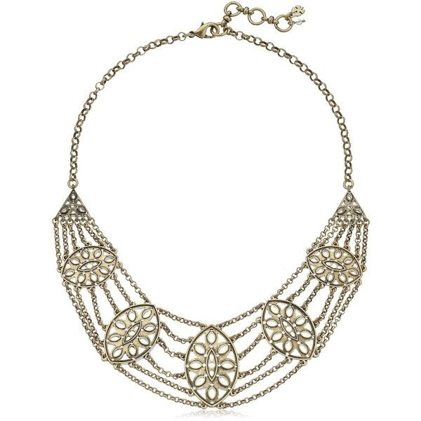 Lucky Brand Gold-Tone Major Bib Necklace (648.270 IDR) ❤ liked on Polyvore featuring jewelry, necklaces, chain bib necklace, lucky brand necklace, multi-chain necklace, chain statement necklace and bib necklace