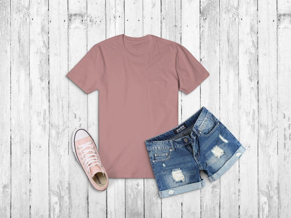 Download T Shirt With Jeans Shorts Mockup Mockupworld Clothing Mockup Tshirt Outfits Blush Shirt