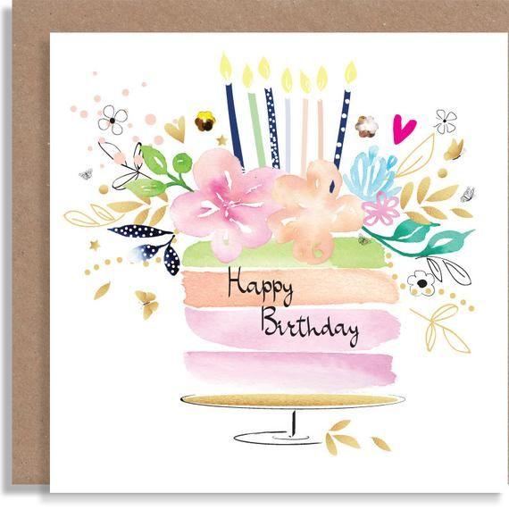 Birthday Cake Flowers Party Watercolour Handmade Etsy In 2021 Handmade Greeting Card Designs Birthday Card Drawing Watercolor Birthday Cards