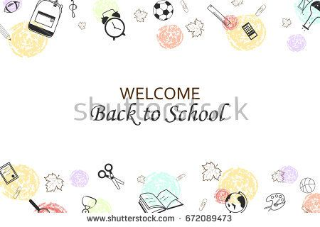 Welcome Back to school concept with school supplies icons, creative - welcome back template
