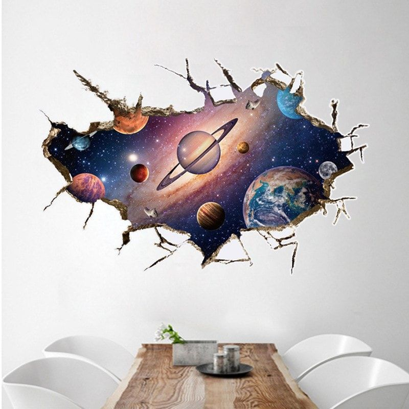 Cosmos Outer Space Wall Sticker Kindergarten Bathroom Children