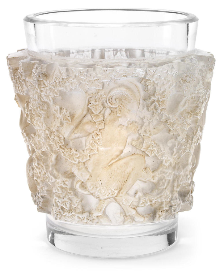 A René Lalique molded clear and frosted glass vase: Bacchus  Marilhac 10-923, model introduced in 1938  acid-etched R. LALIQUE FRANCE