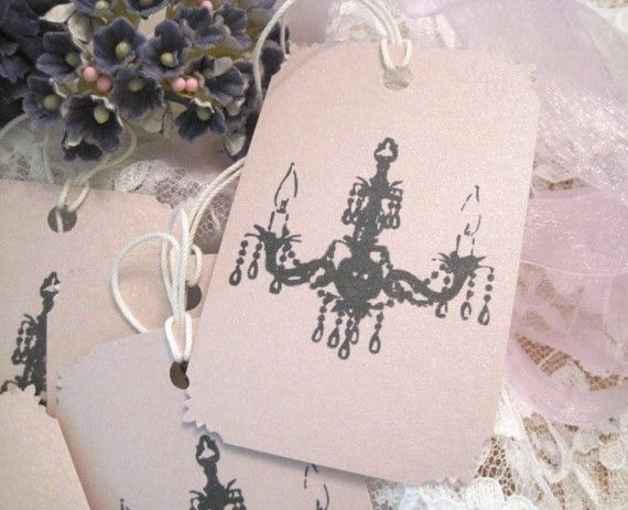 CHANDELIER - SHABBY PINK GIFT TAGS