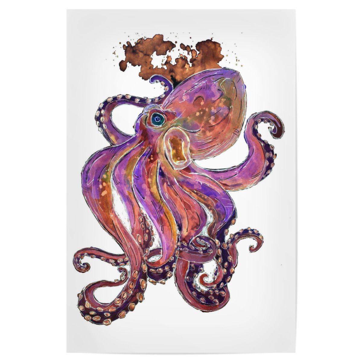 Purple Octopus Premium Poster - #ZeichenbloQ #artboxone #poster #artprint #homedecor #octopus #kraken #squid #tentacles