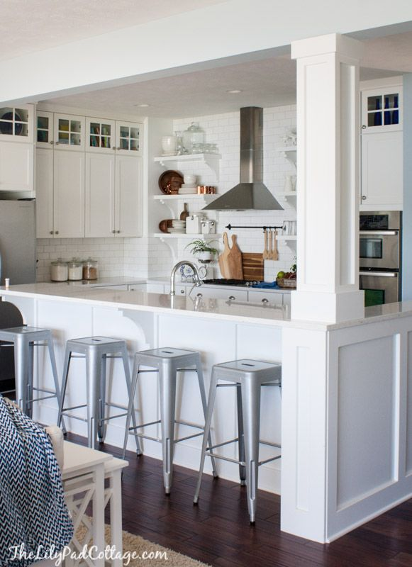 kitchen cabinet columns summer home tour white cottage cottage kitchens and beams 18359