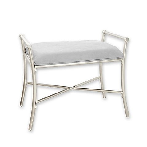 Harlow Vanity Bench In Brushed Nickel Vanity Seat Vanity Bench