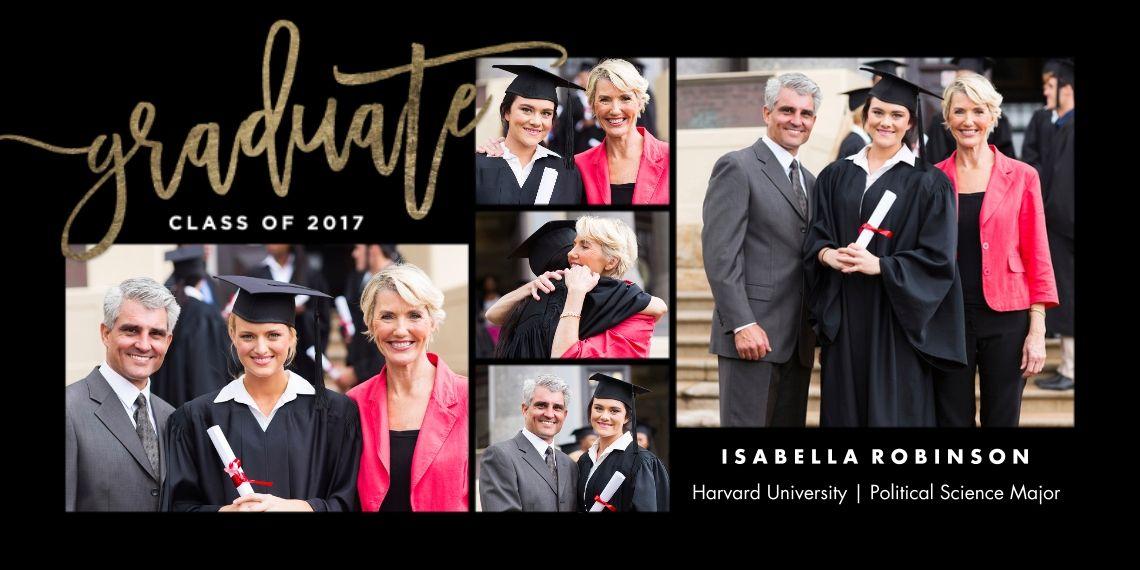 Graduation modern script custom photo cards graduation