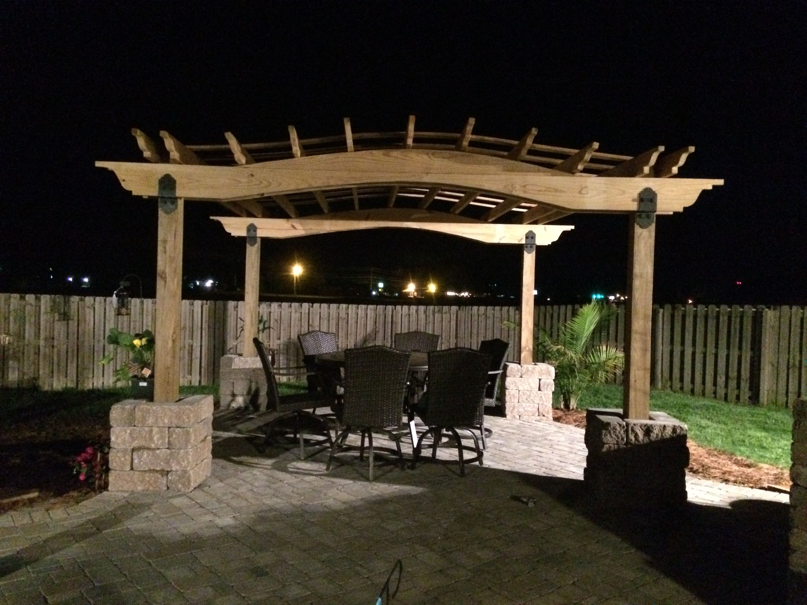 curved 12x12 pergola my husband built in our backyard backyard