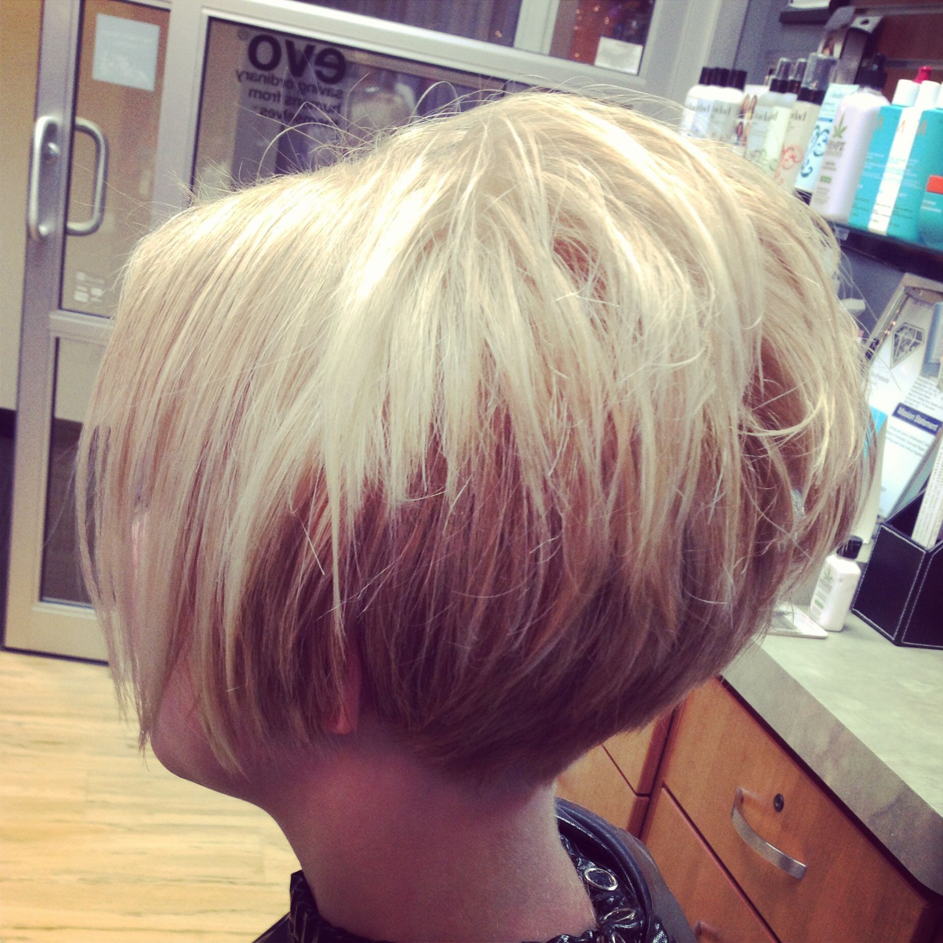 Short cropped stacked tapered at neck bob! | Short stacked haircuts, Short  stacked hair, Stacked haircuts