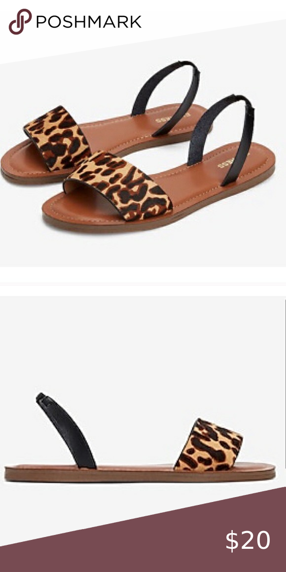 Leather sandals, Leopard haircalf
