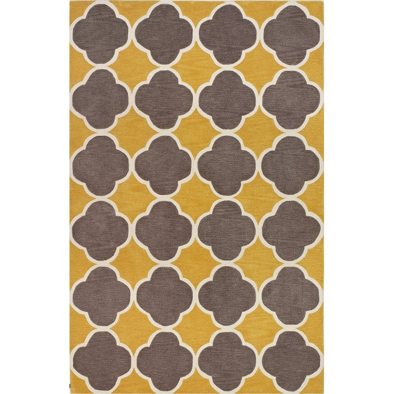 5 X 8 Medium Transitional Yellow And Brown Area Rug Infinity