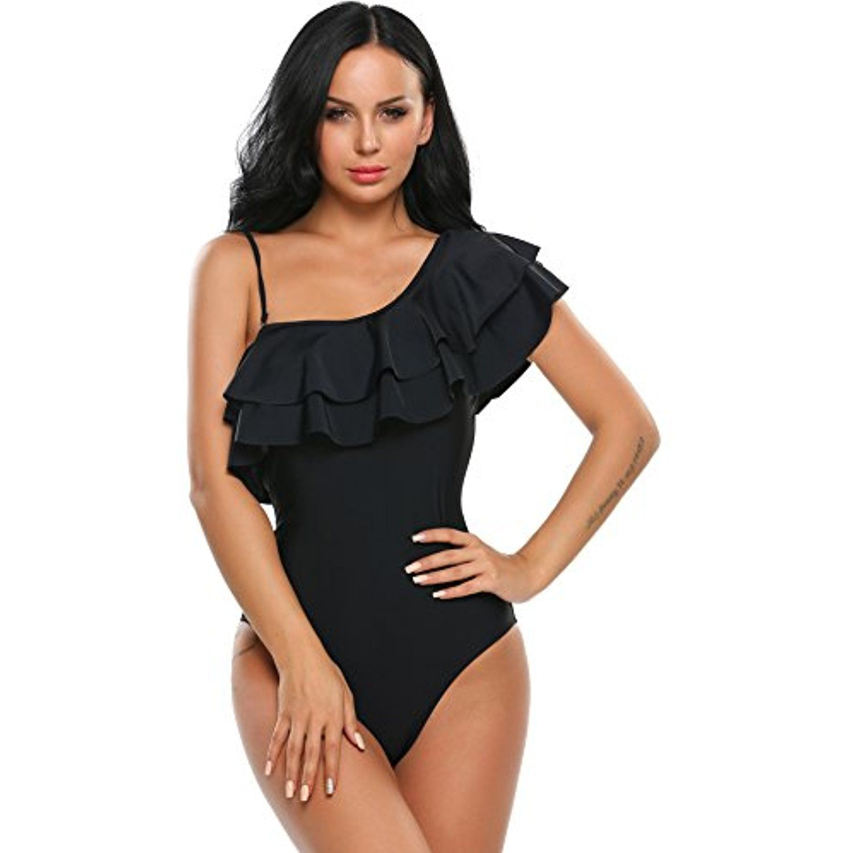 dcdb70861c2698 Avidlove Women One Piece Swimsuit Ruffle Bathing Suit Oblique Collar  Monokini Swimwear >>> For more information, visit image link.