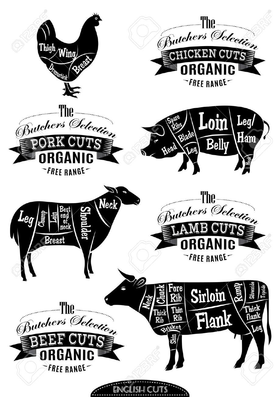 Cow AND Pig Butcher Chart Chalkboard Drawing 11x14 | More Wooden ...