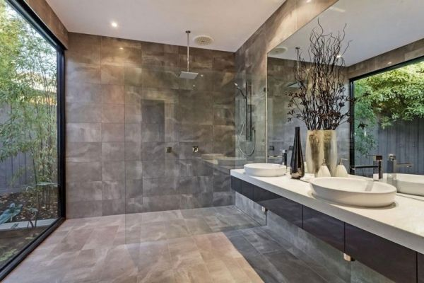 modernes badezimmer fliesen steinoptik glas duschkabine | bäder, Badezimmer dekoo