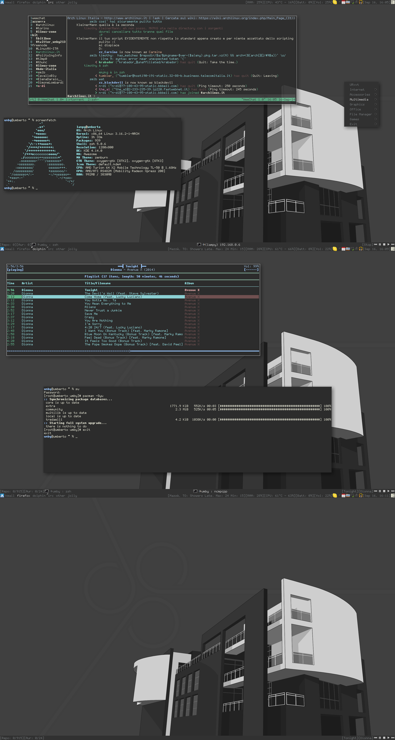Arch Linux KDE - Awesome (no {kwin,plasma,krunner}) ncmpcpp (abs