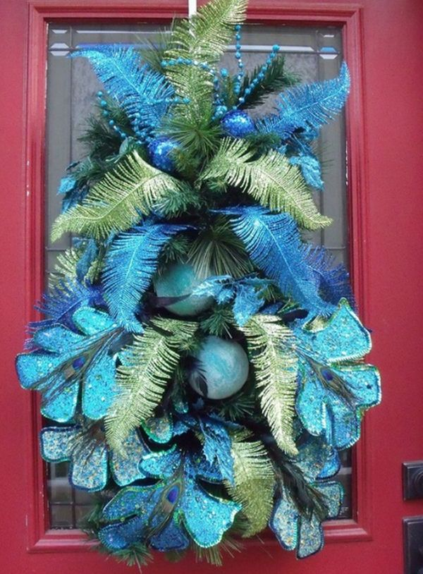 awesome-christmas-doors-decorating Love the unique colors - peacock christmas decorations