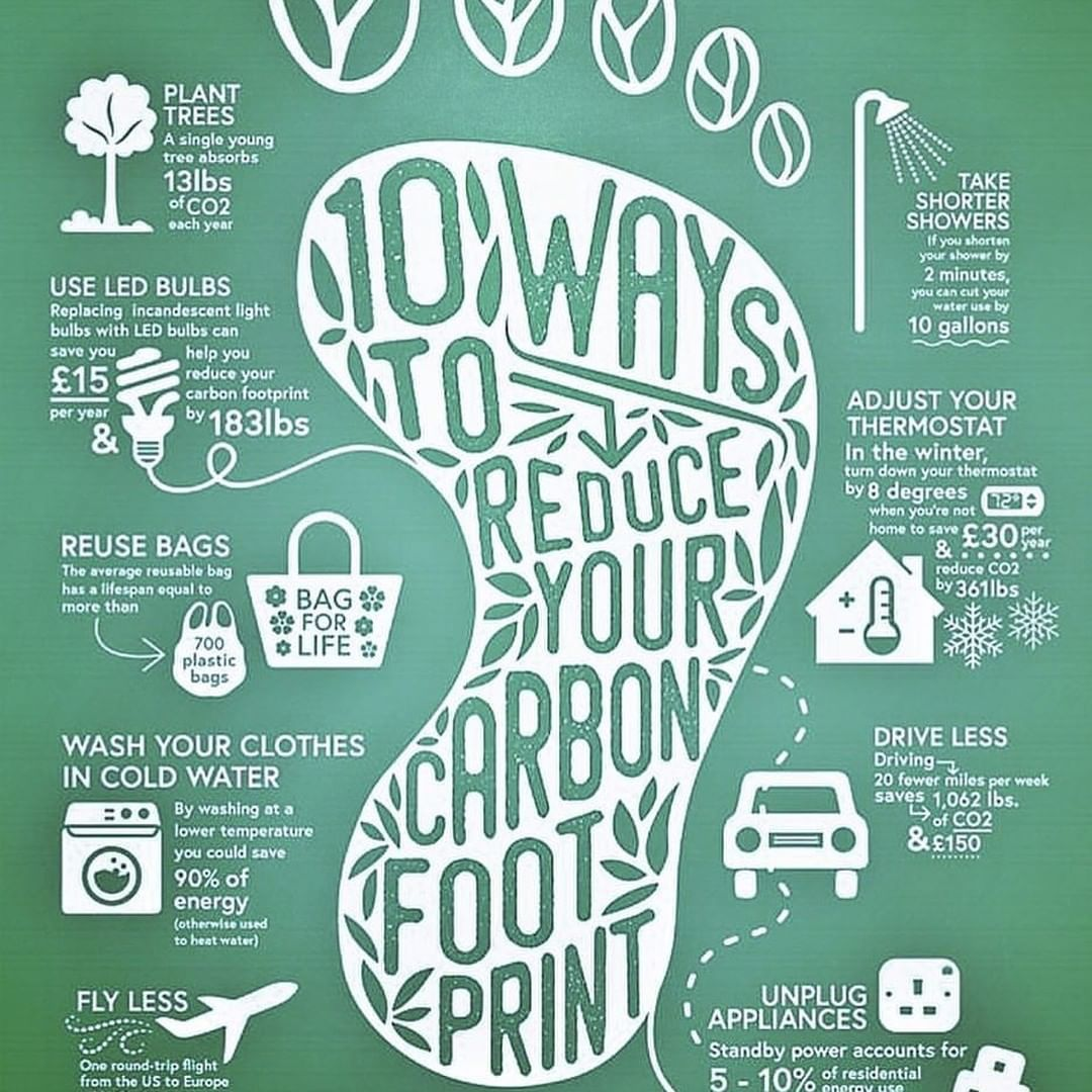 Zero Waste Living Inspiration On Instagram 10 Ways You Can Reduce Your Carbon Footprint Tag Th Carbon Footprint Footprint Environmentally Friendly Living