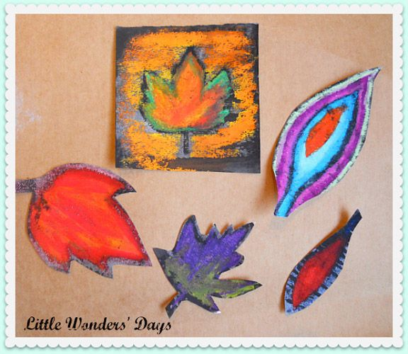 Fall activities for kids: Oil pastel resist fall leaf craft from Little Wonders Days || Gift of Curiosity
