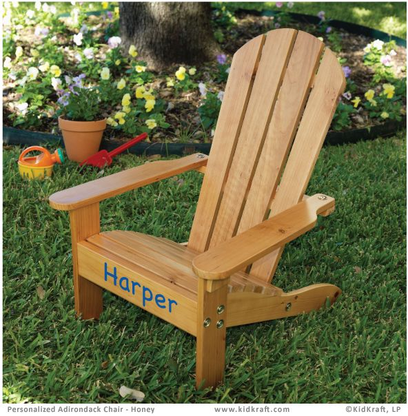 Attractive Personalized Adirondack Chair   Honey