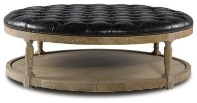 Charmant Coffee Table. Leather Round Upholstered Ottoman Coffee Table .