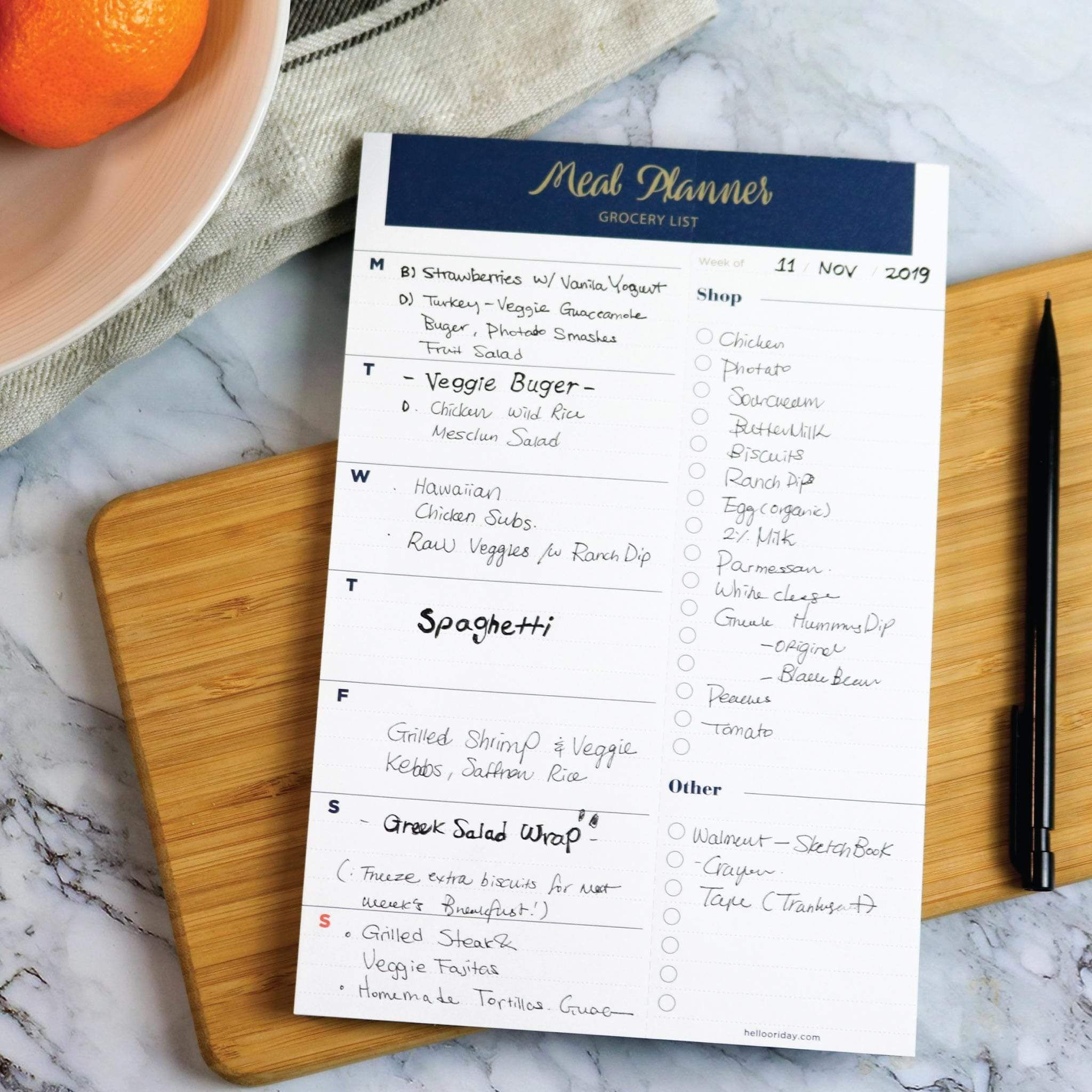 Photo of Weekly Magnetic Meal Planner Notepad – Navy Gold