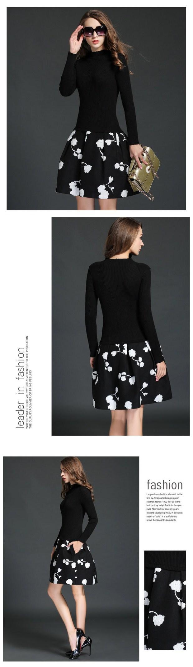 Elegant fashion korean women long sleeve ball gown embroidery floral