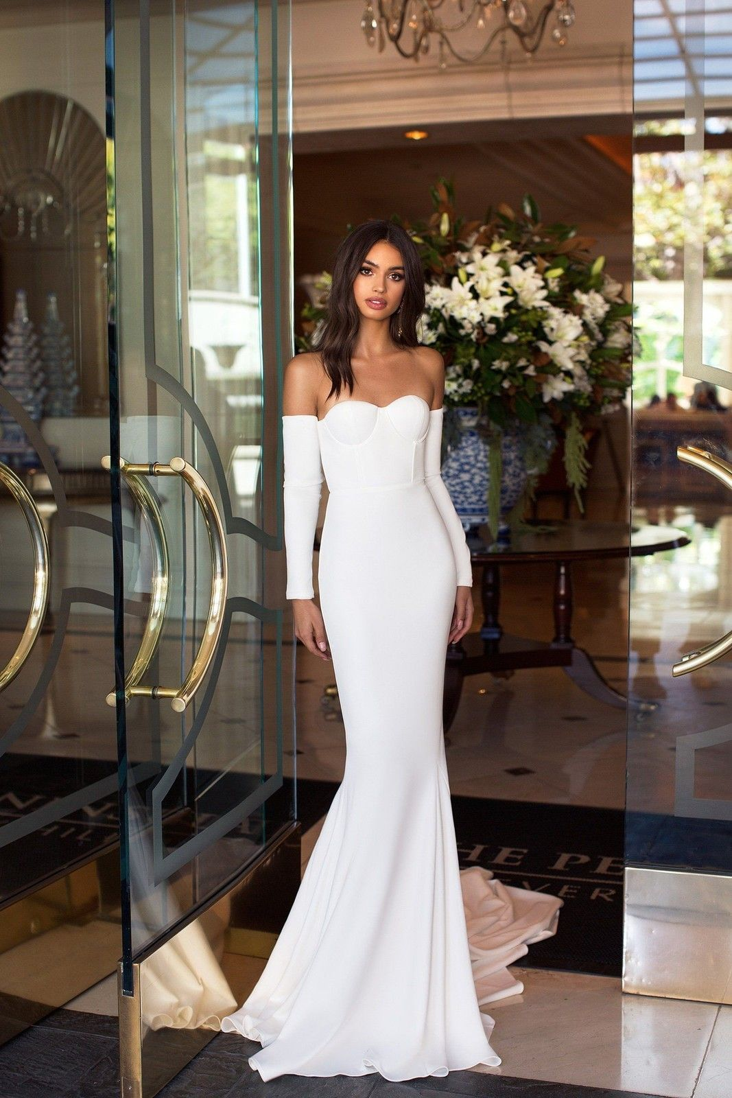 Chic White Prom Dresses Sexy Cheap Mermaid Long Evening Dresses Hot Formal Gowns