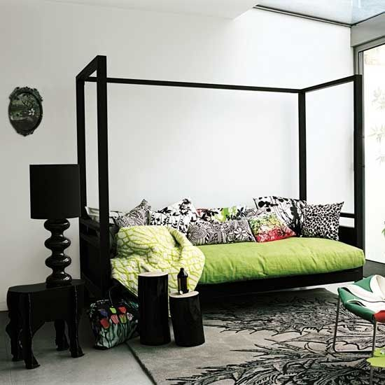 green and black daybed