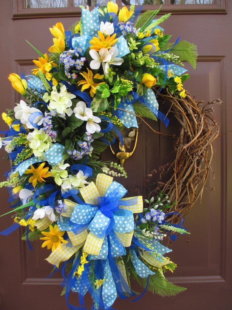 Spring~Summer~MothersDay~Silk Floral Wreath~Yellow~Blue~White-WILLOWLANEDESIGNS