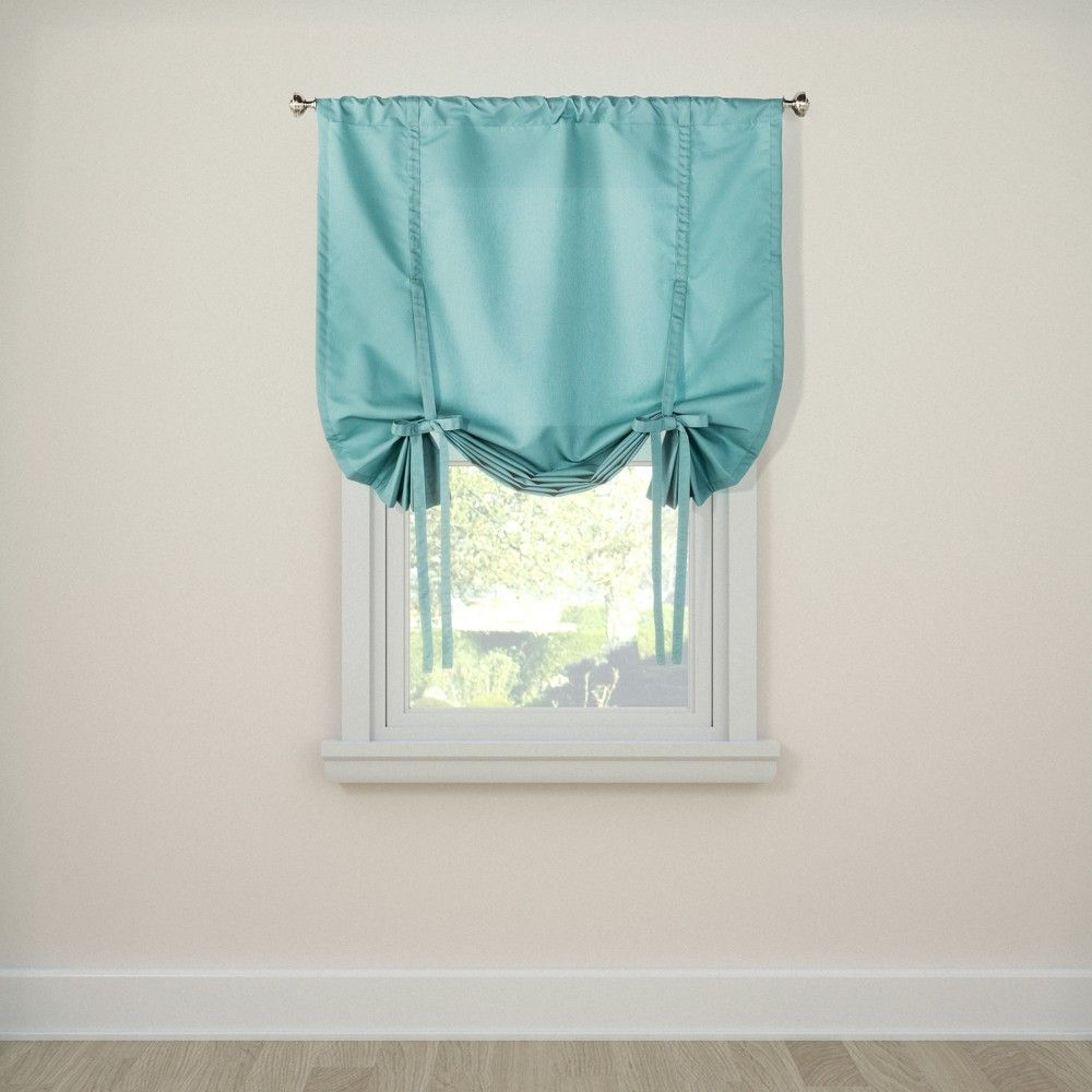 Twill Tie Up Curtain Panel Aqua 42x63
