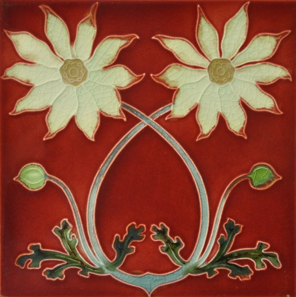SHERWIN /& COTTON MAJOLICA GLAZED FLORAL ART NOUVEAU TILE