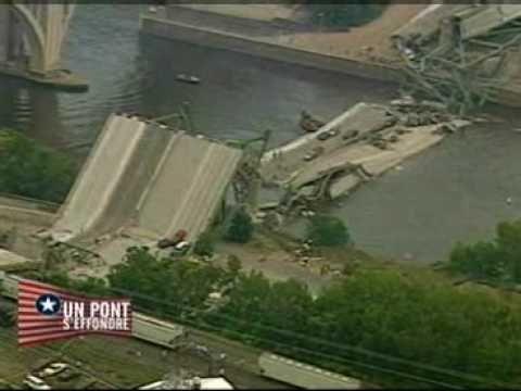Un pont autoroutier enjambant le Mississippi à Minneapolis s'est effondré en une heure de pointe, ce qui a fait basculer des dizaines de véhicules dans le fleuve et provoqué la mort de neuf personnes.    Des voitures étaient écrasées sous des blocs de béton. D'autres étaient sur le toit. Plus bas, des véhicules baignaient dans l'eau. La circulation était très dense au moment où le pont, construit il y a 40 ans, s'est effondré.