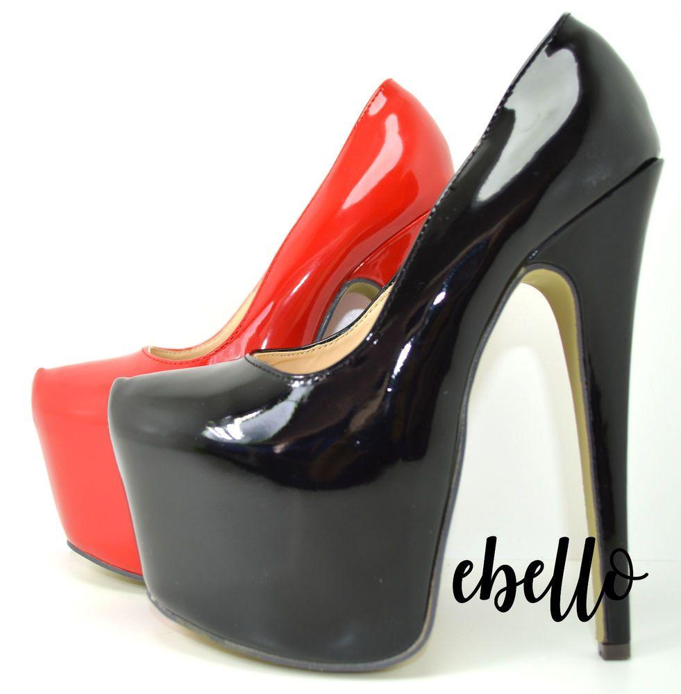 Decolletè lucida scarpe donna decolte con plateau e tacco alto 17 colore  vernice fd0e02d24cb