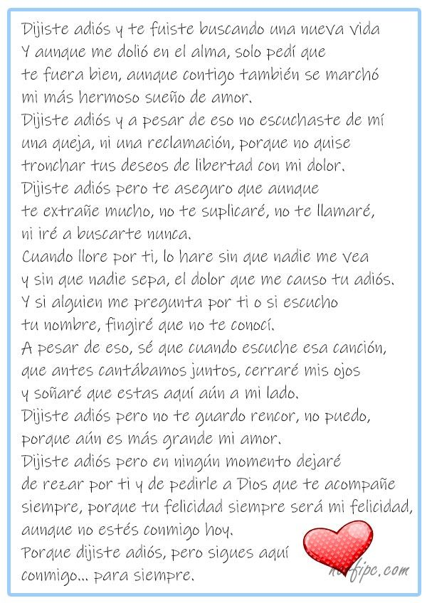 Poema De Despedida A Un Amor Imposible Dijiste Adios Pero Sigues Aqui Conmigo Hoy Poemas De Amor