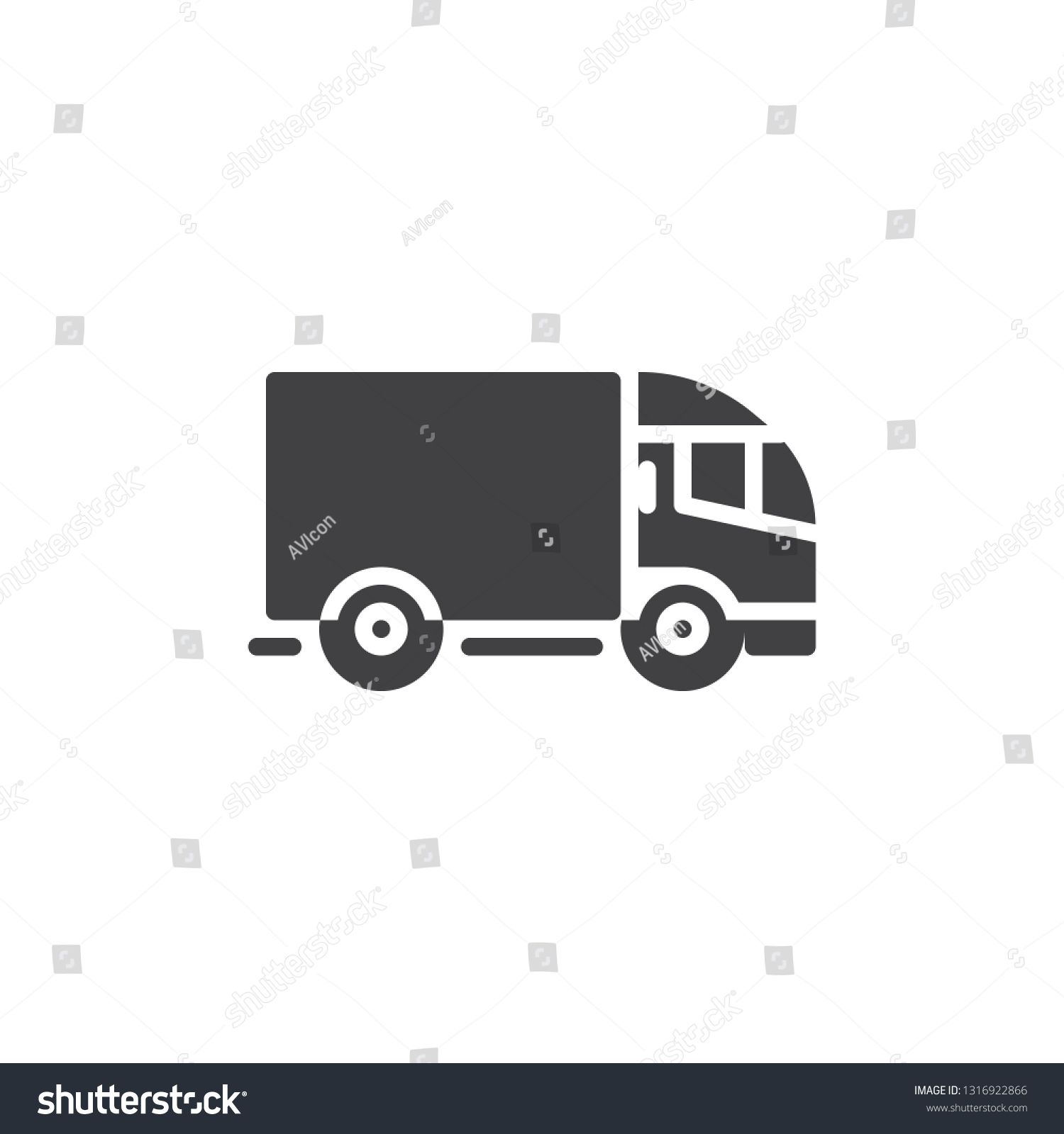 Delivery Truck Vector Icon Filled Flat Sign For Mobile Concept