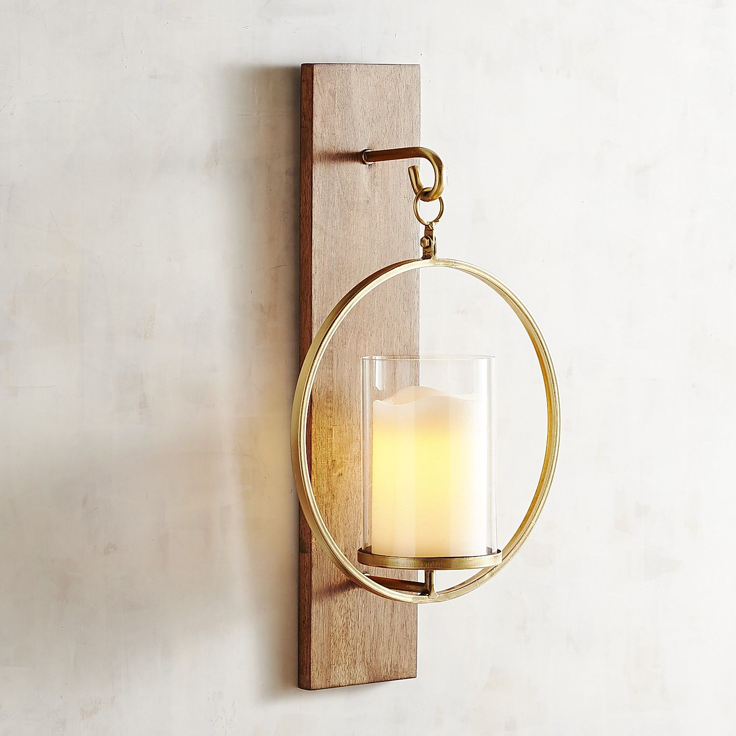 Wooden plank candle holder wall sconce candle sconce pinterest