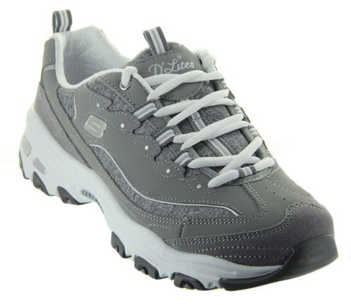 879e834b2e2a74 These D Lites - Me Time in Gray  White by Sketchers feature smooth leather