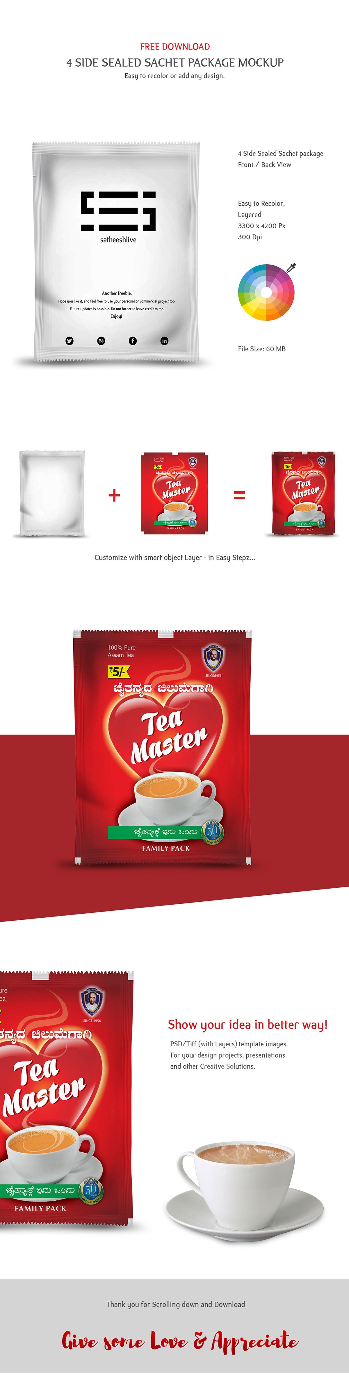 Download Free Individual Wrapped Sachet Psd Mockup Free Tea Coffee Sachet