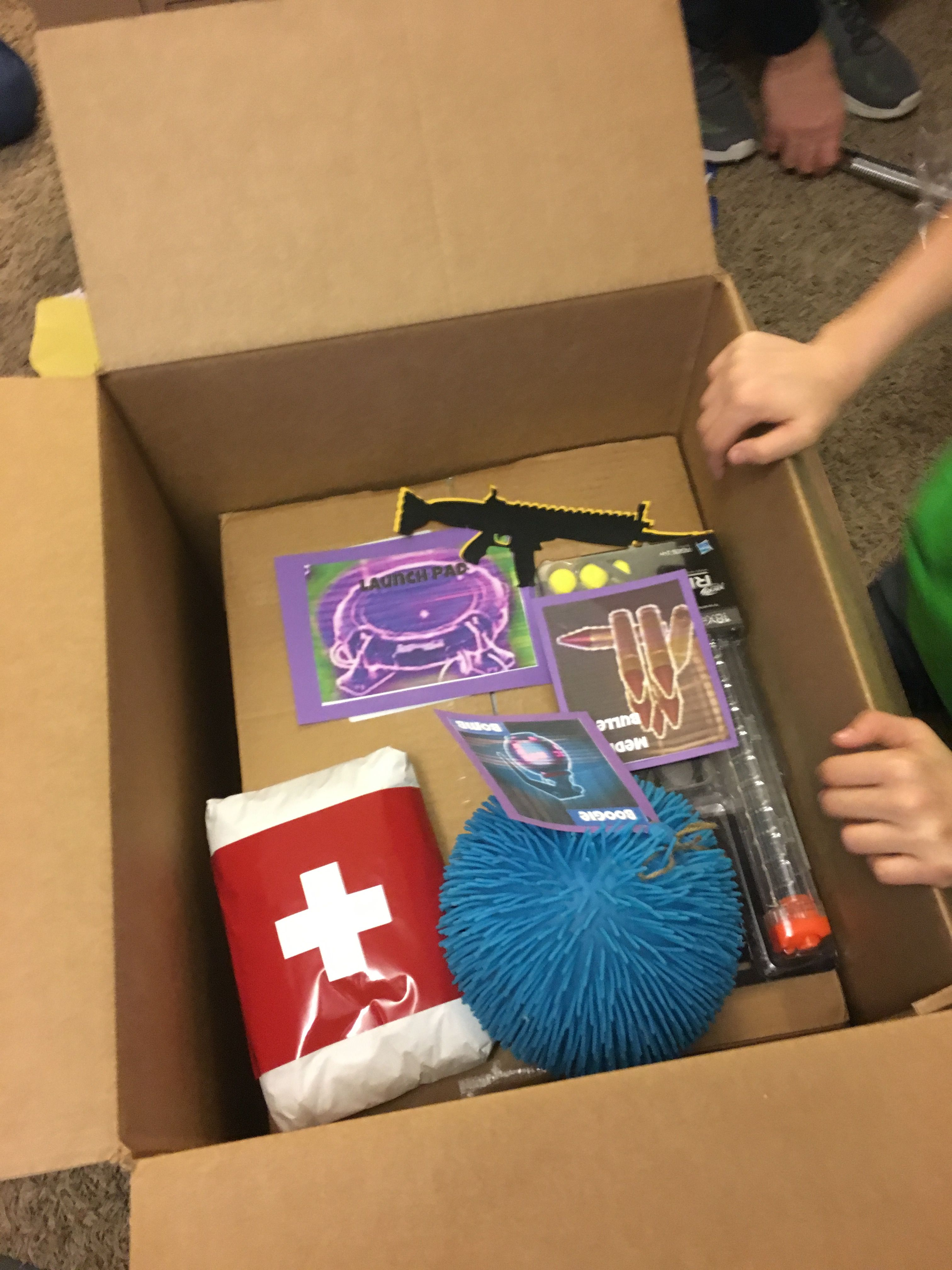 Fortnite supply drop. Boogie bomb ball, Med kit (wrapped