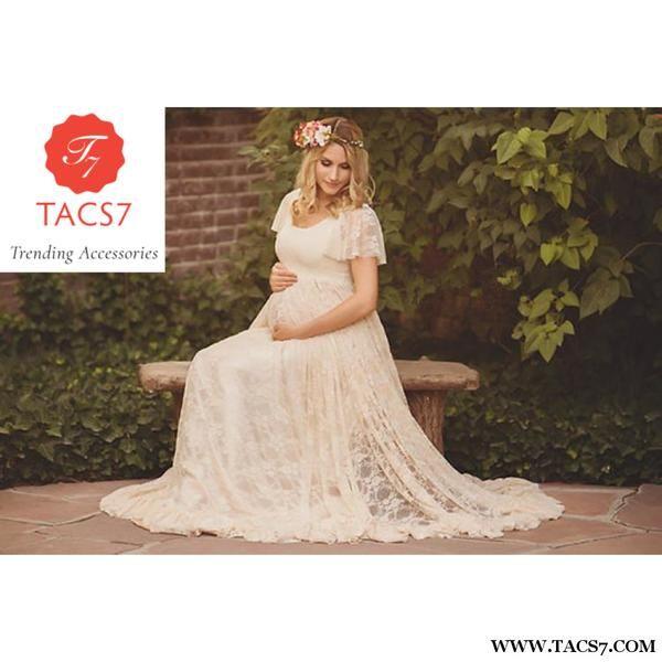 b8749be957e9e Le Couple Maternity Gown Photography Props Maxi Dresses Off White ...