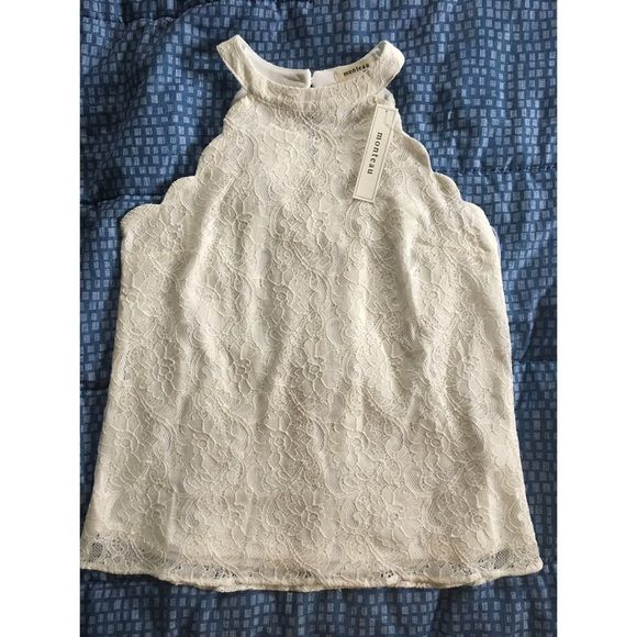 Monteau Lace Tank Size: S. Color: White. NWOT never worn except for these photos. Has scalloped hem around the arms and has single button closure at the back of the neck. Only tag attached is the vendor tag. No defects. No trades. Monteau Tops Tank Tops