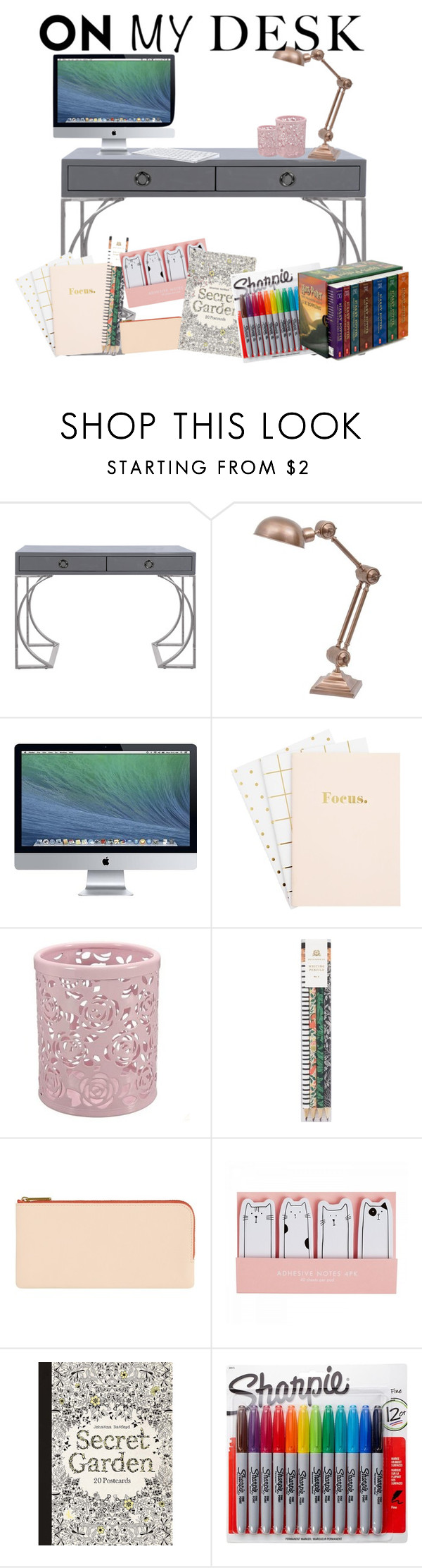 """What's on my desk?"" by itsfashioninfinity ❤ liked on Polyvore featuring interior, interiors, interior design, home, home decor, interior decorating, Worlds Away, Rifle Paper Co, Sharpie and onmydesk"