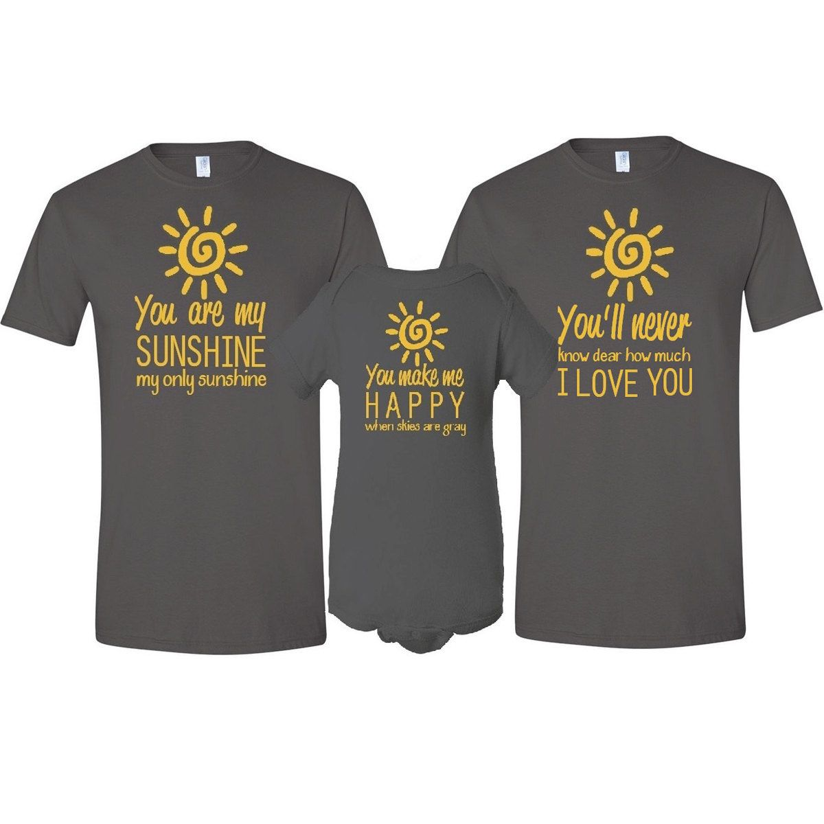 First Time Fathers Day Gifts Part - 25: You Are My Sunshine Father , Mother T-Shirt U0026 Son / Daughter Bodysuit  Matching 3 Piece Set Fatheru0027s Day Baby Shower Gift For First Time Dad