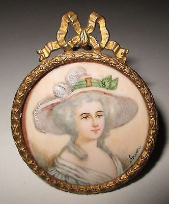 Antique French Miniature Portrait on Wafer of Fine Lady Signed Sirven Dated 1867 | eBay