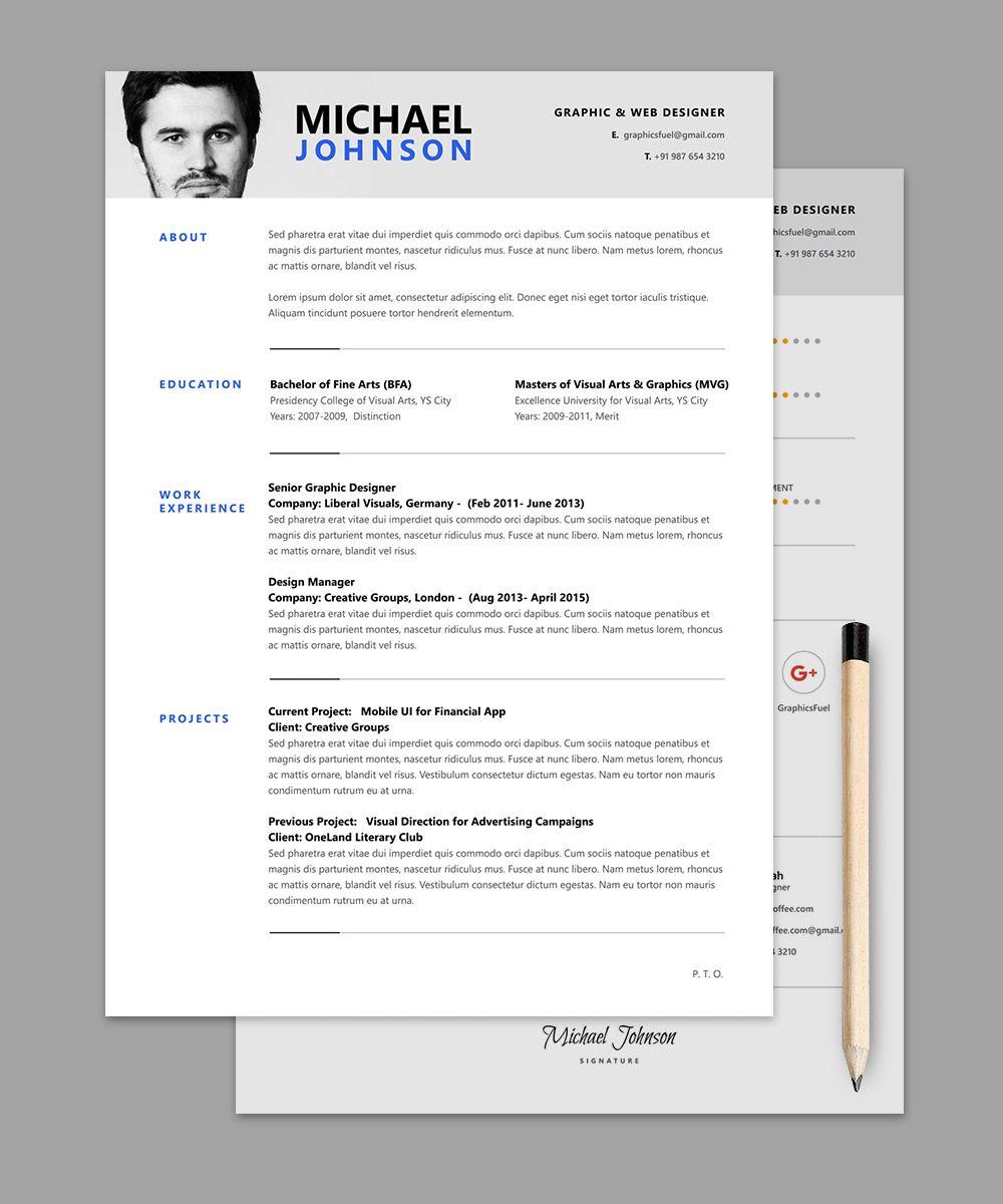 Resume Cv Psd Template Graphicsfuel Resume Design Template Resume Template Professional Business Resume Template