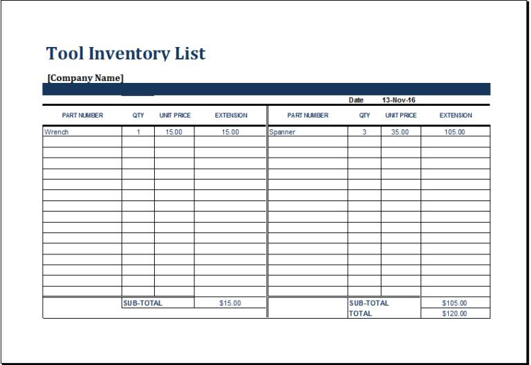 tool inventory list printable pinterest list template tools